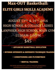 Congratulations, you have been selected  to attend the 1st Annual Max-OUT Elite Girls Skills Academy! This academy will be for advanced players only.     We will provide you with elite plyometrics and conditioning. Advanced basketball education, intense offensive and defensive technique training. Since the game of basketball is a mental game just as much as physical a physical game, we will also provide great mental training!      This is a great way to get prepared for the upcoming basketball season. You will be provided with elite training to give you a leg up on the competition!  Limited Spots Available  Act Now